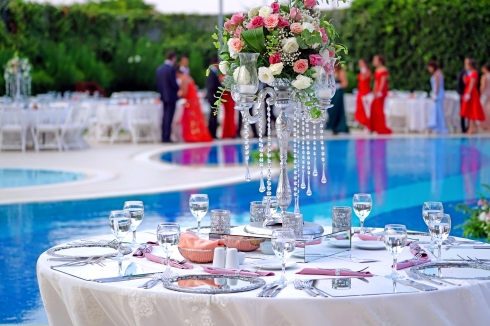 Wedding Breakfast Table beside the outside pool in Spain
